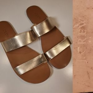 EUC | 8 | JCREW GOLD LEATHER SLIP ON SLIDE SANDALS